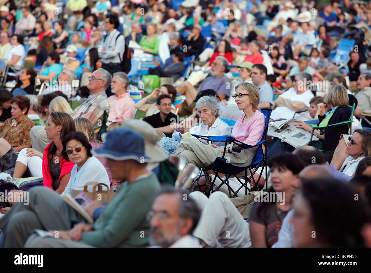 Concert audience at the Hatch Shell on the Esplanade, Boston - Stock Image