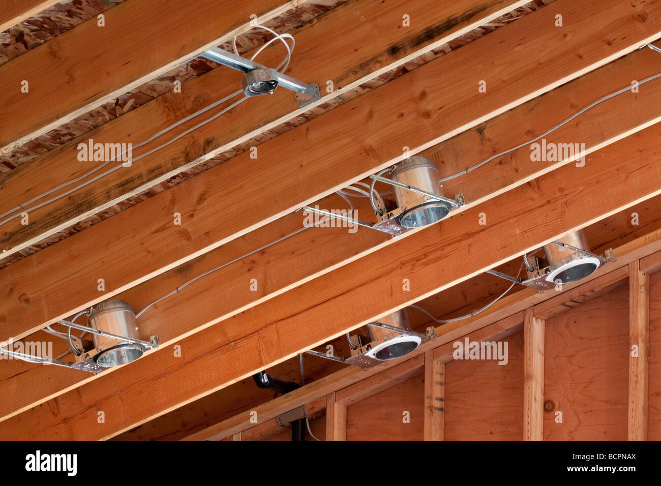 Wiring For Vaulted Ceilings Wire Data Schema Short Circuit Tester Diagram Measuringandtestcircuit Lighting Cans And Installed In The Rafters Of A Stock Rh Alamy Com Coffered Ceiling Arched