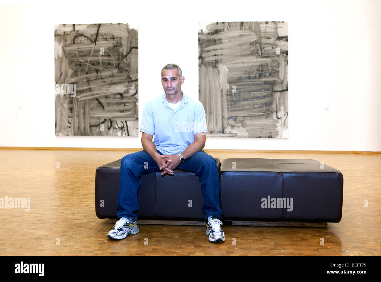the painter Christopher Wool received the Wolfgang Hahn Preis Koeln at the Museum Ludwig he ist standing infront - Stock Image