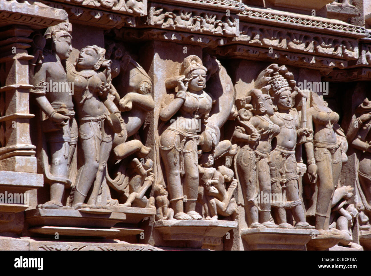Khajuraho India Lakshmana Temple Detail Stock Photo