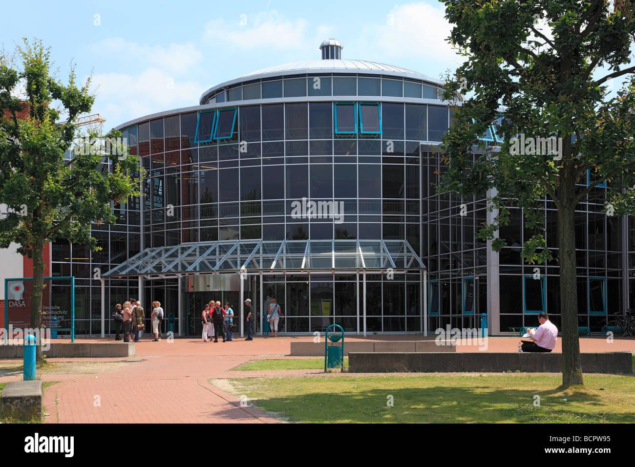 Route der Industriekultur, DASA, Haupteingang der Deutschen Arbeitsschutzausstellung in Dortmund-Dorstfeld, Ruhrgebiet, Stock Photo