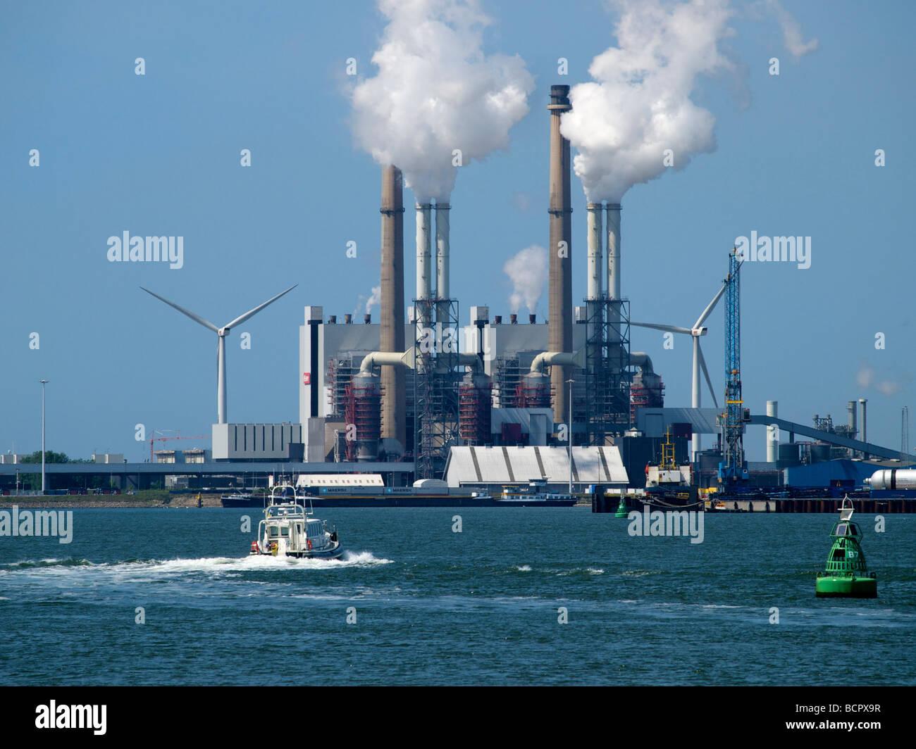 Rijnmond centrale powerplant Eon company Rotterdam port area Zuid Holland the Netherlands - Stock Image