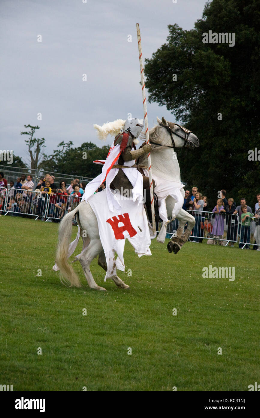 A medieval jousting knight on a rearing up horse, Lambeth Country Show, London, England, UK. 18th July 2009 - Stock Image