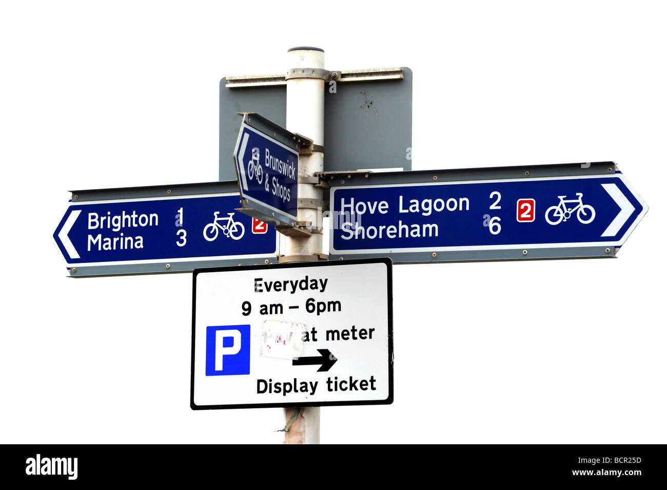 National cycle network signs on brighton sea front - Stock Image