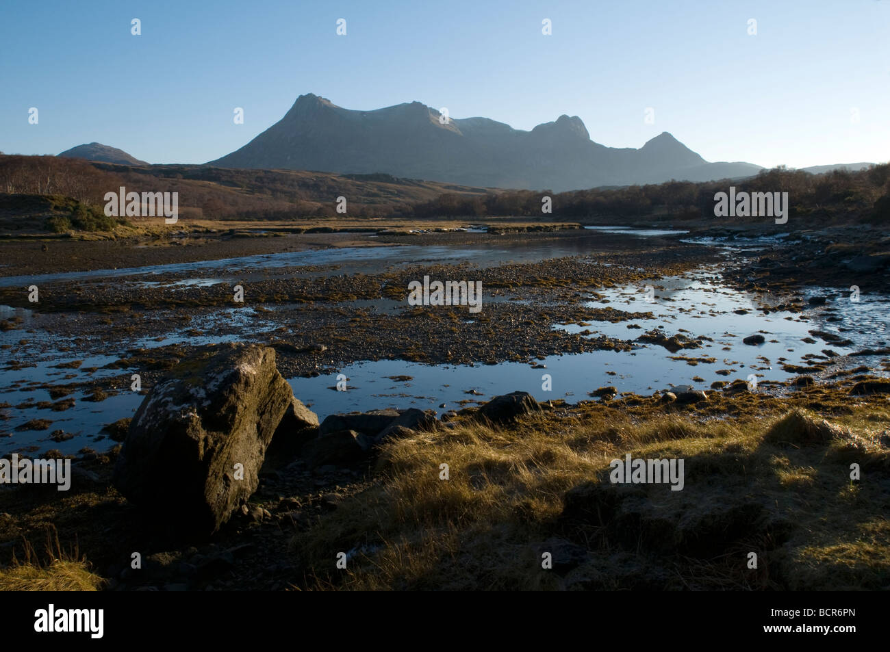 Ben Loyal from the head of Loch Tongue, Sutherland, Scotland, UK Stock Photo