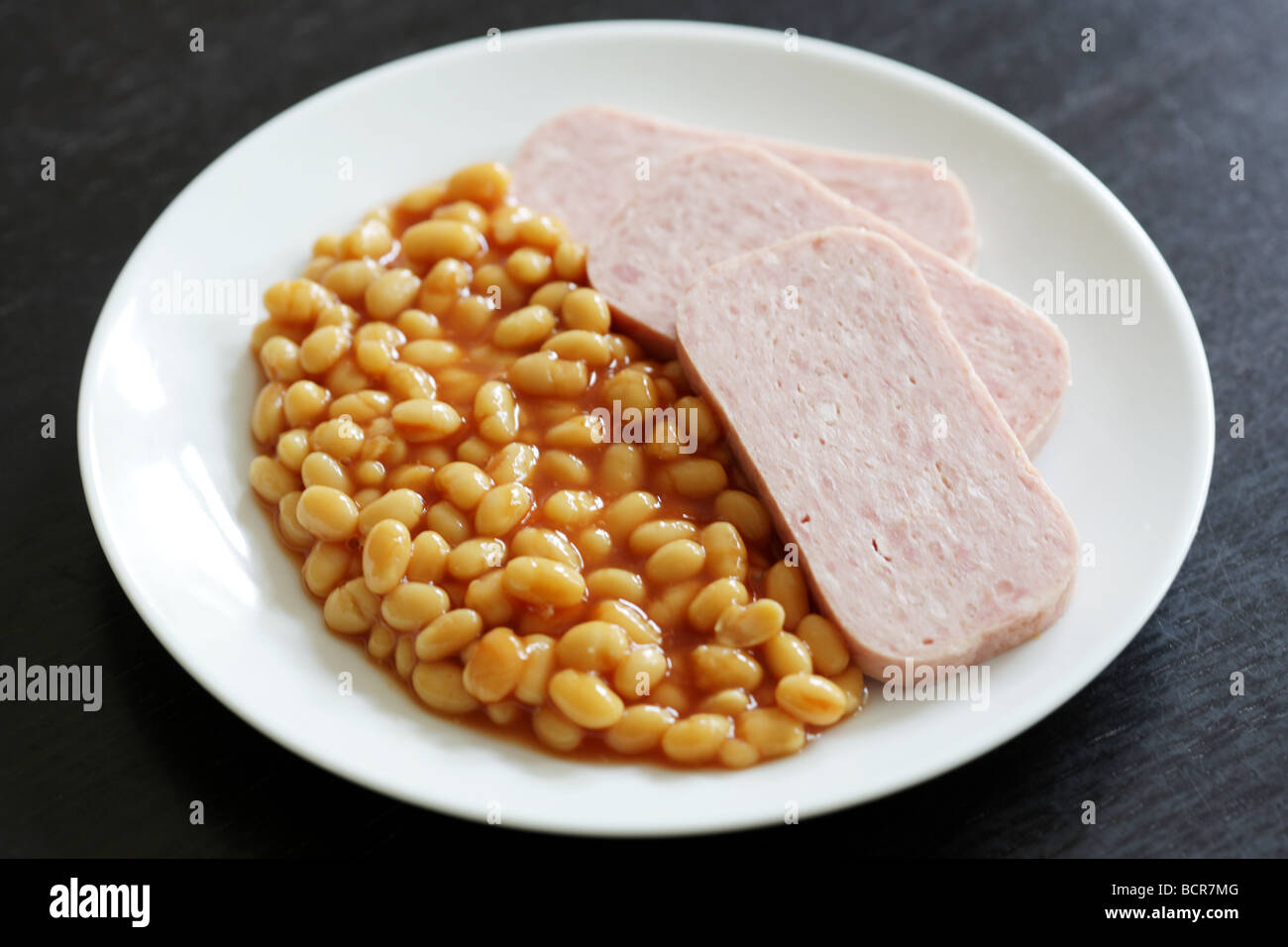 Spam with Baked Beans - Stock Image