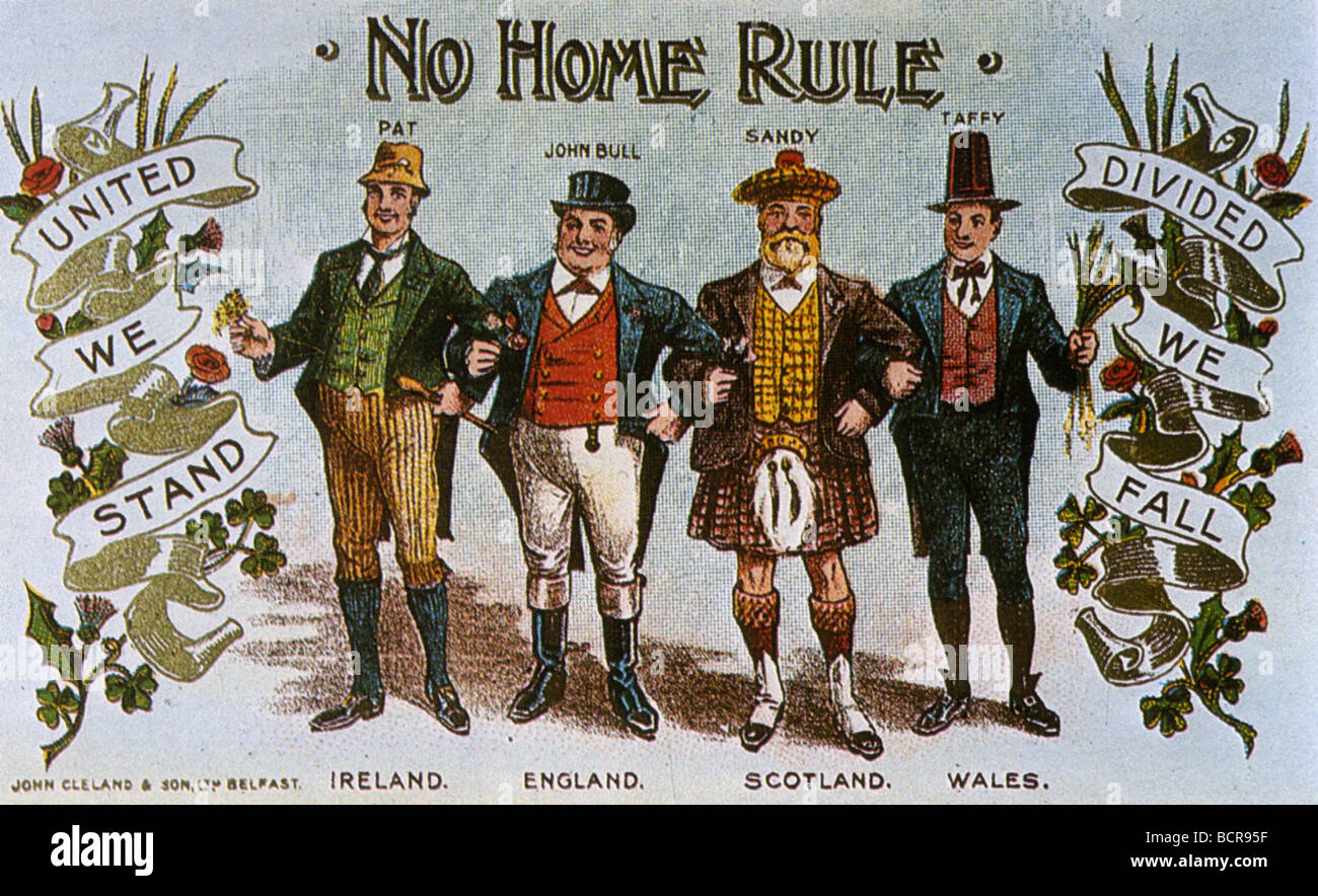 NO HOME RULE FOR IRELAND postcard about 1911 - Stock Image