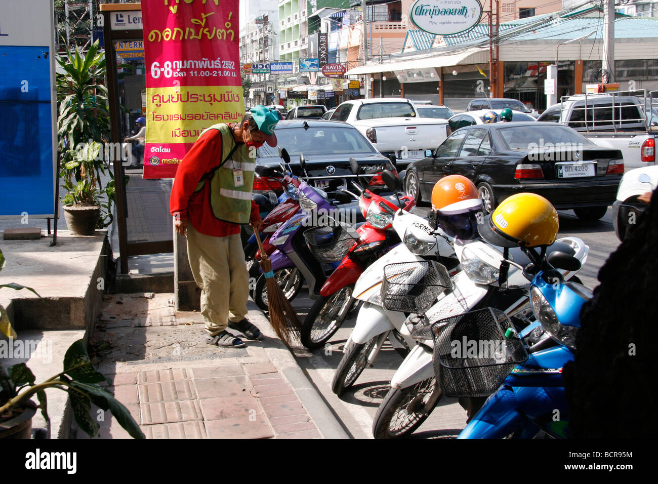Thailand pavement obstruction - Stock Image