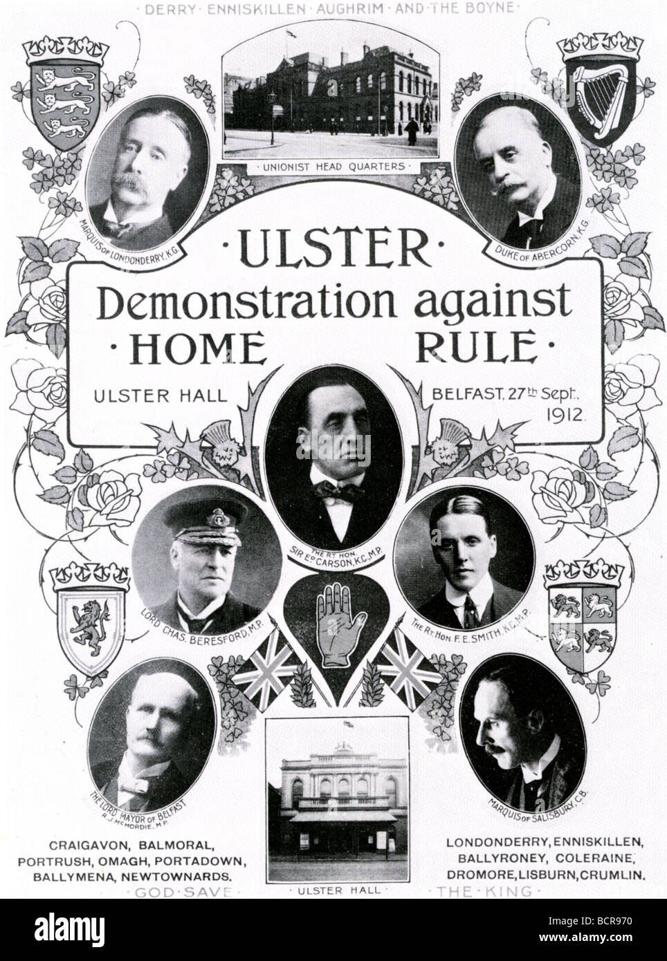 ULSTER UNION poster rejecting the Third Home Rule Bill of 1912 - Stock Image