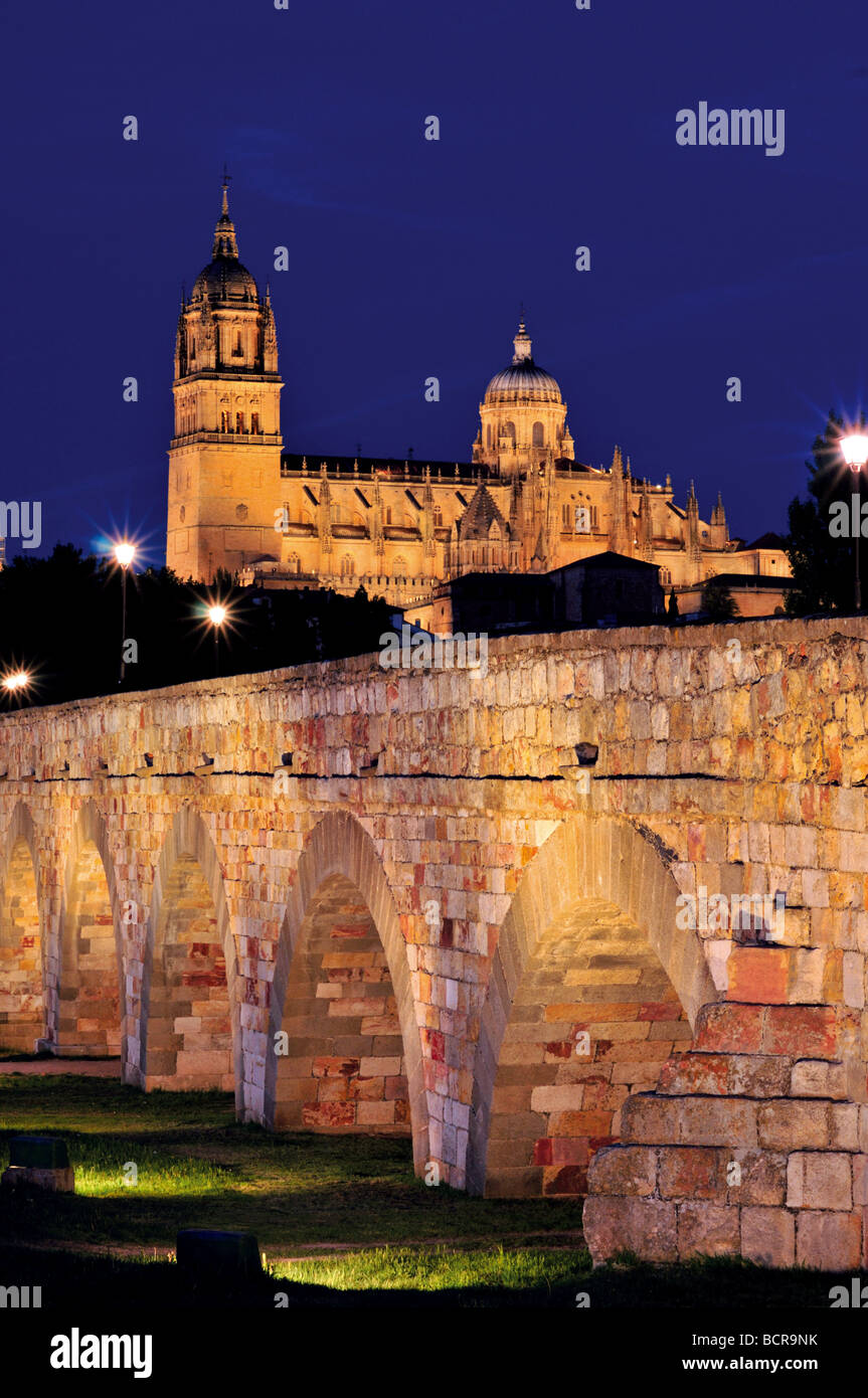 Spain, Castilla-Leon: Roman bridge and Cathedrals of Salamanca by night - Stock Image