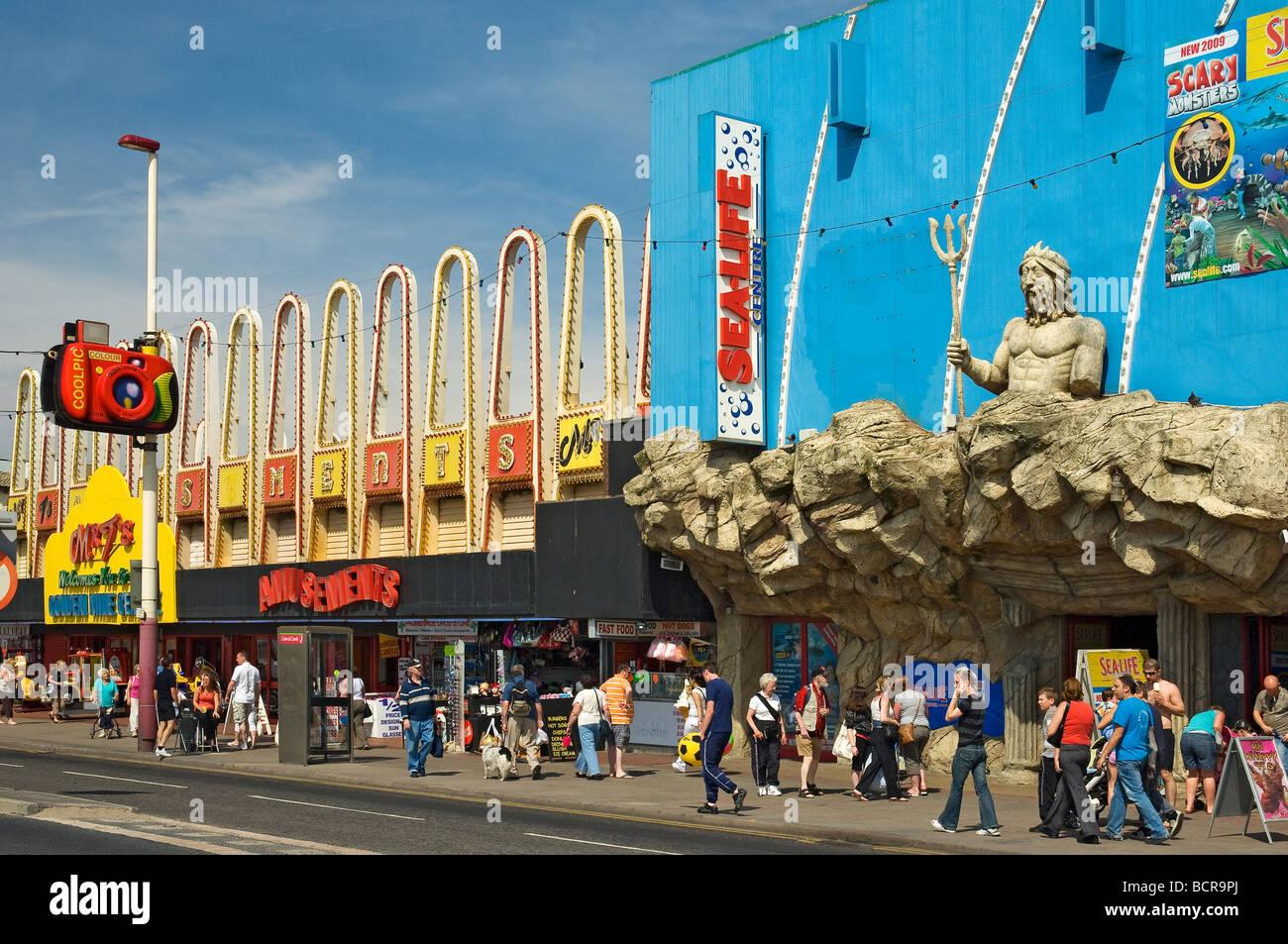 Amusements along the Golden Mile Blackpool Lancashire England UK United Kingdom GB Great Britain - Stock Image