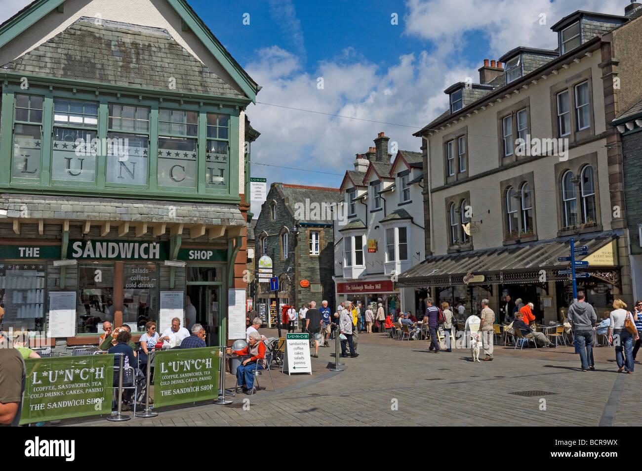 Market place Keswick Cumbria England UK United Kingdom GB Great Britain - Stock Image