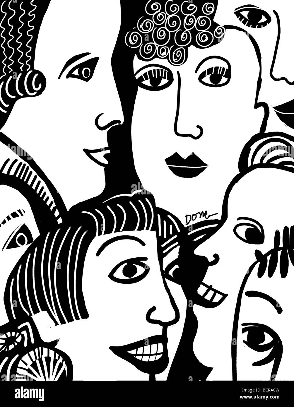 B&W faces, 2007, Diana Ong (b.1940/Chinese-American) Computer Graphics - Stock Image