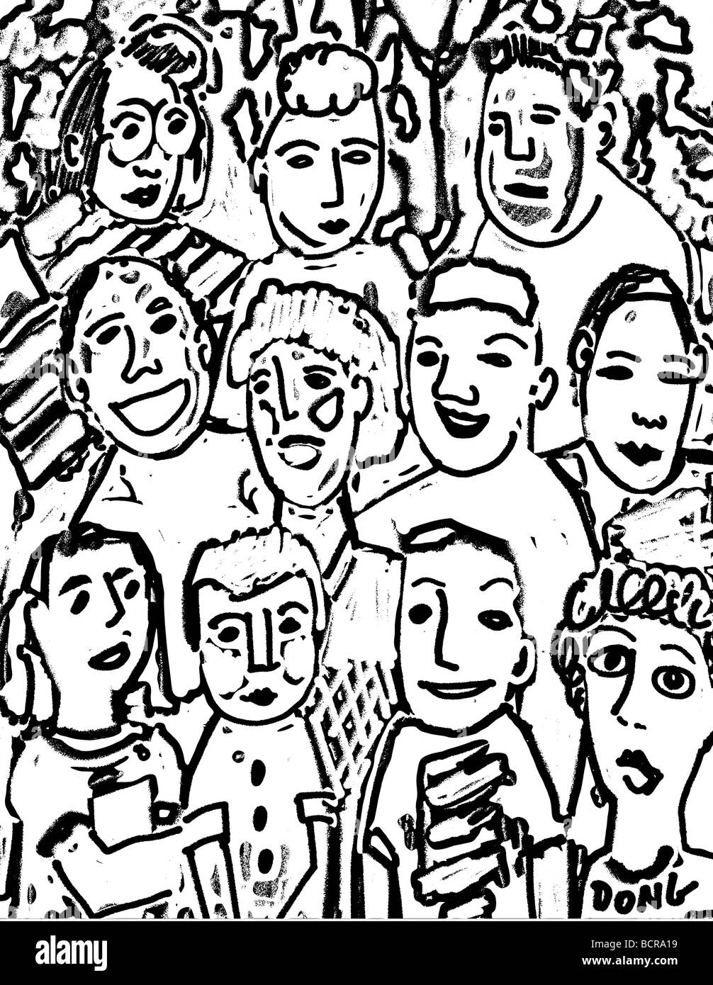 Woodcut crowd, 2006, Diana Ong (b.1940/Chinese-American) Computer Graphics - Stock Image