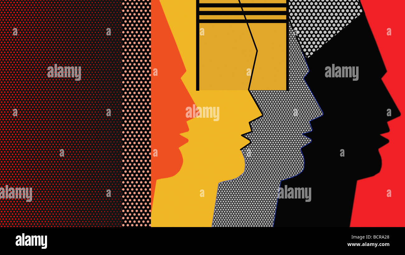 Pop art profiles, 2007, Diana Ong (b.1940/Chinese-American) Computer Graphics - Stock Image