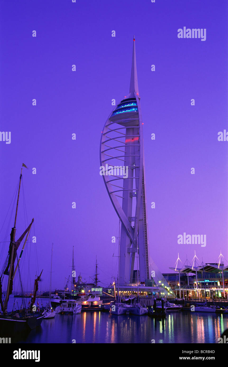 Tower at a harbor, Spinnaker Tower, Portsmouth, Hampshire, England Stock Photo