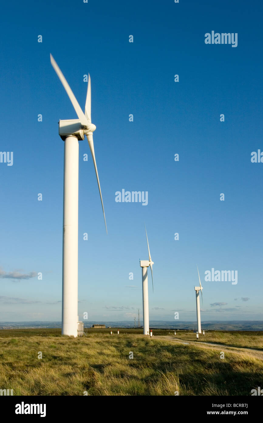 Wind turbines produce clean energy at Ovenden Moor, close to Halifax in West Yorkshire, UK - Stock Image