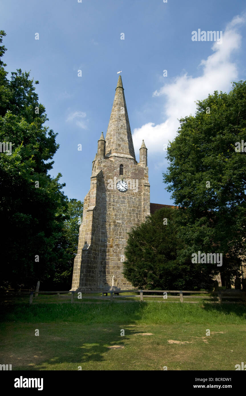 Chiddingly village church with spire East Sussex UK - Stock Image
