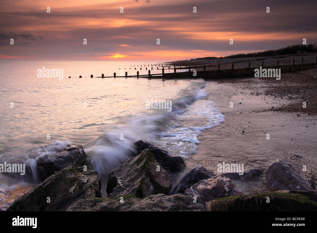Sunset on Goring beach, Goring, Worthing, West Sussex - Stock Image