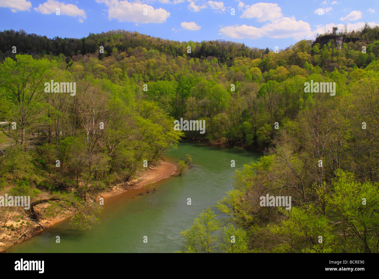 Cumberland River Blue Heron Historic Mining Community Big South Fork National River and Recreation Area Kentucky Stock Photo