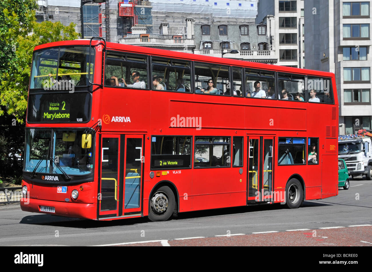 London red bus route number 2 operated by Arriva no advertising - Stock Image