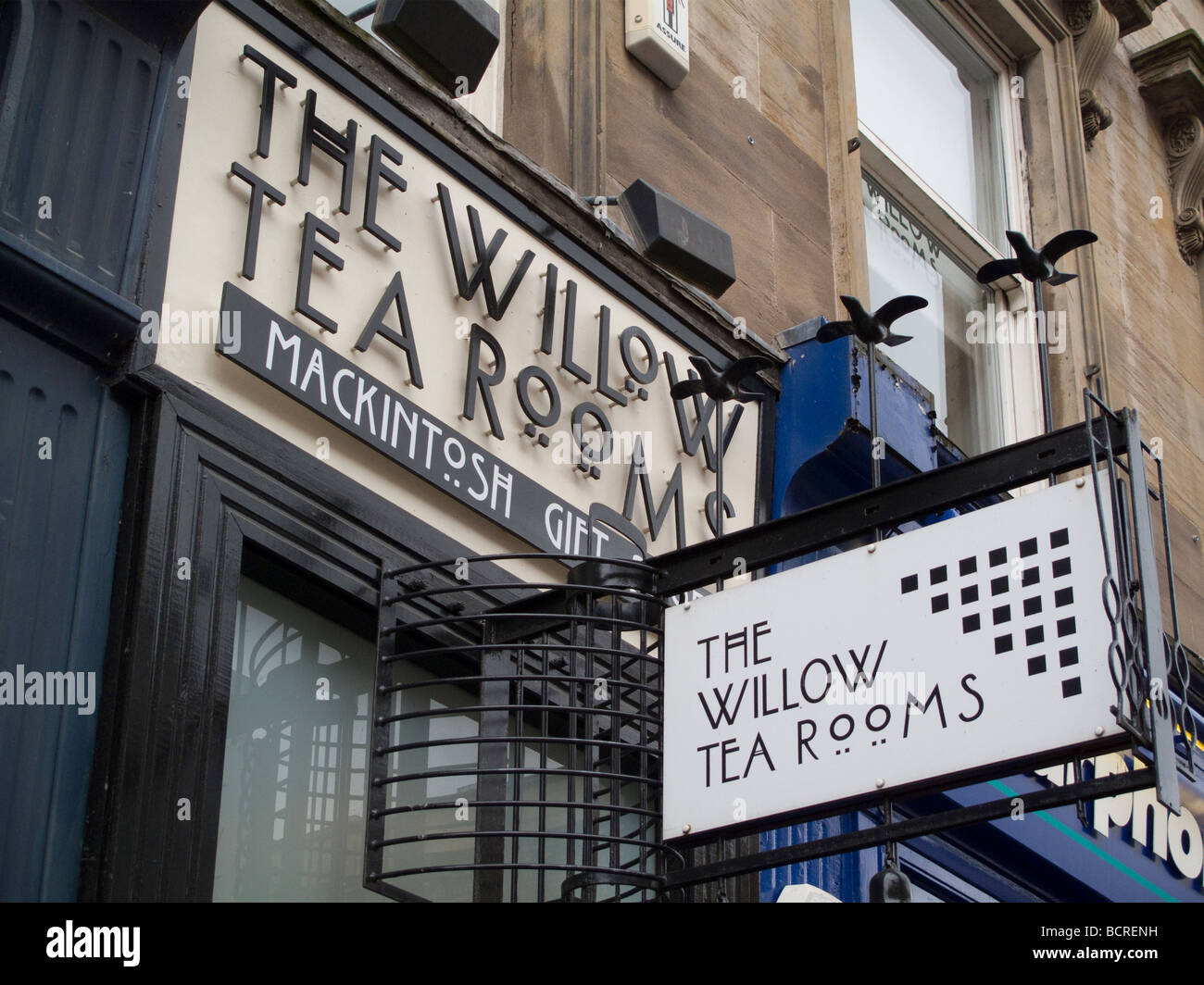 Sign outside the Willow Tea Rooms in Sauchiehall Street, Glasgow, Scotland, with Charles Rennie Mackintosh design Stock Photo