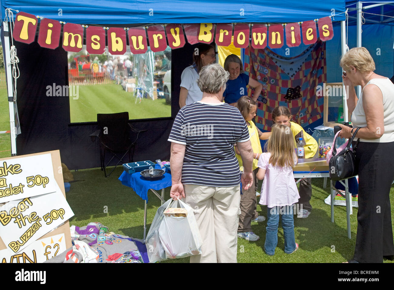 Timsbury Brownies stall at fete - Stock Image