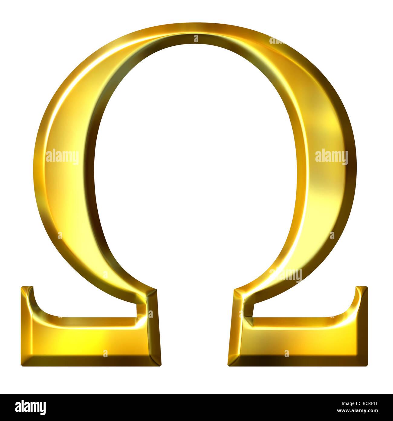 3d golden Greek letter omega Stock Photo: 25102948   Alamy