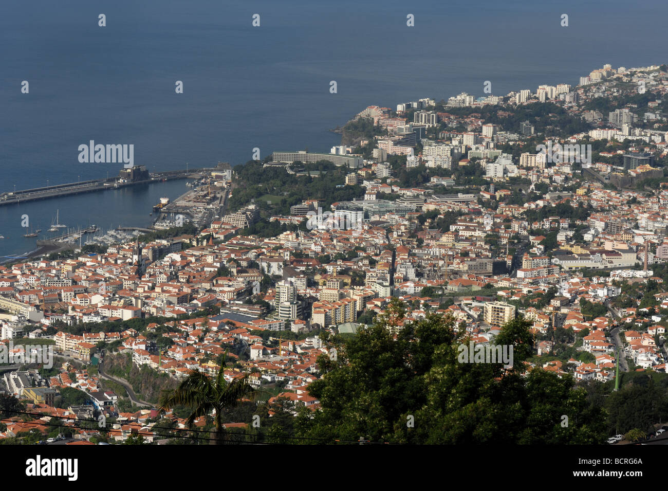 Funchal the capital city of Madeira and the port looking down from Livramento - Stock Image