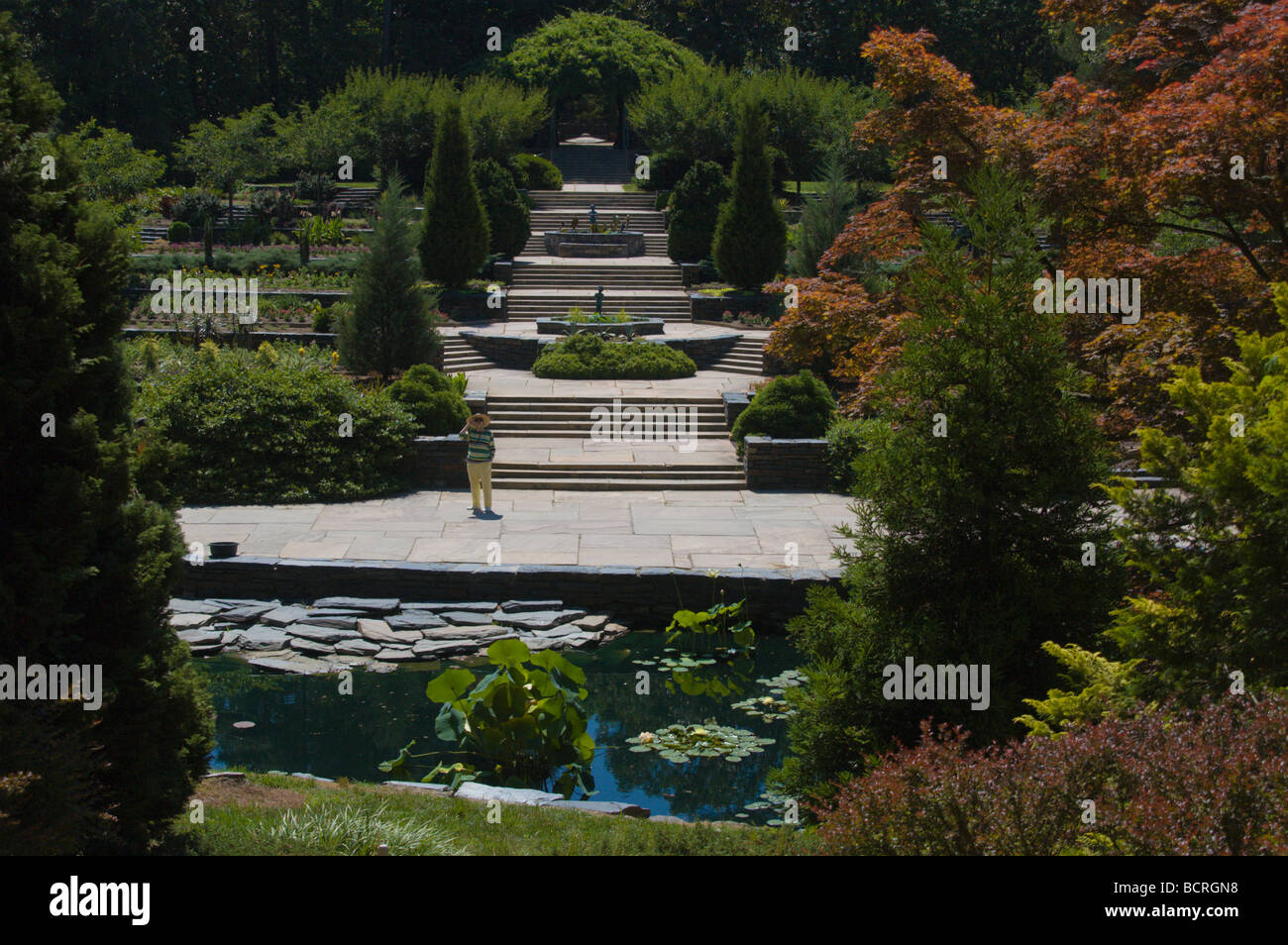 View of main gardens at Sarah P. Duke Gardens, Durham, North Carolina, USA - Stock Image