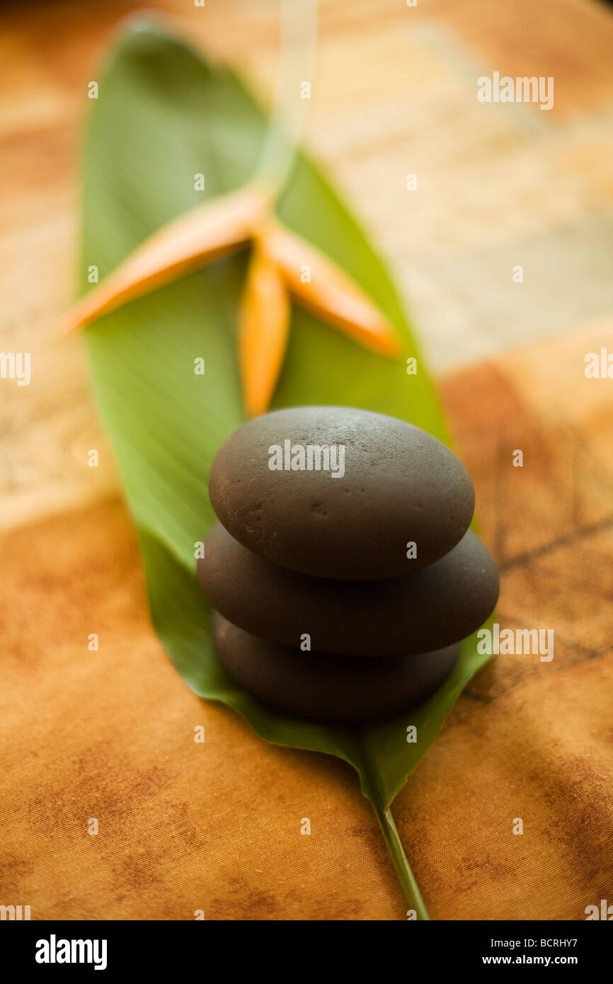 Three stones stacked zen like balanced upon a leaf with a bird of paradise flower on a bed. - Stock Image
