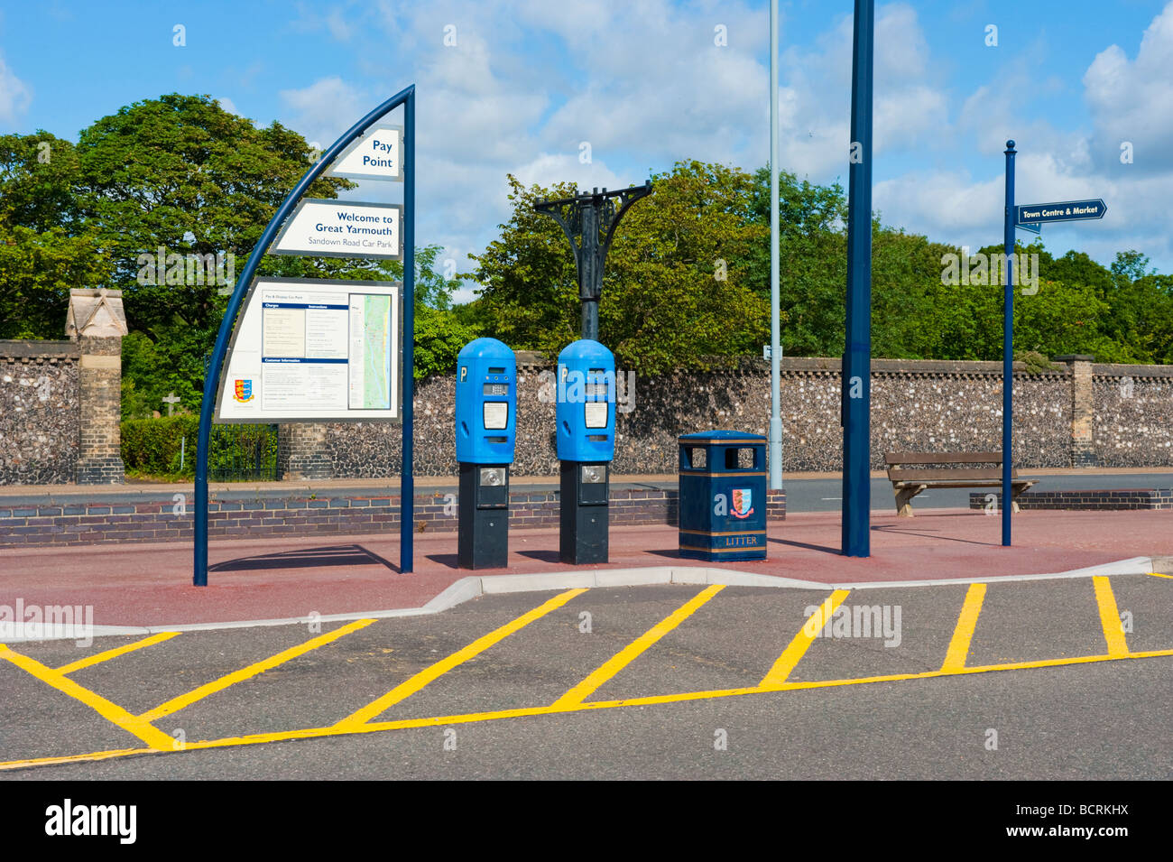 Car parking meters at the Great Yarmouth Car, Coach & Lorry park. - Stock Image