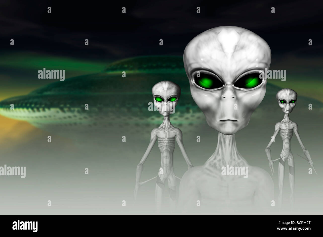 Aliens with their spaceship - Stock Image