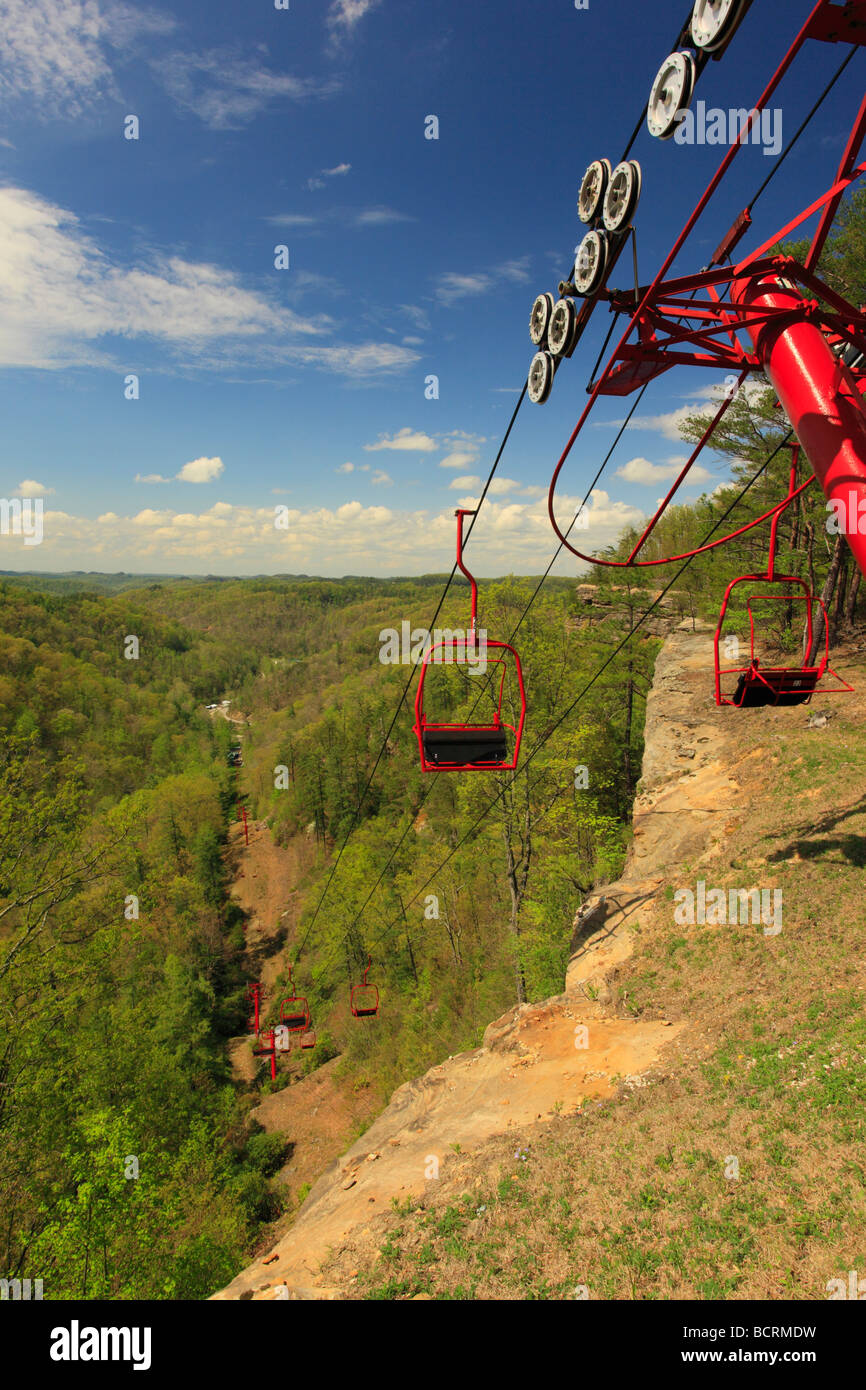 Skylift to top of the Natural Bridge Natural Bridge State Resort Park Slade Kentucky - Stock Image