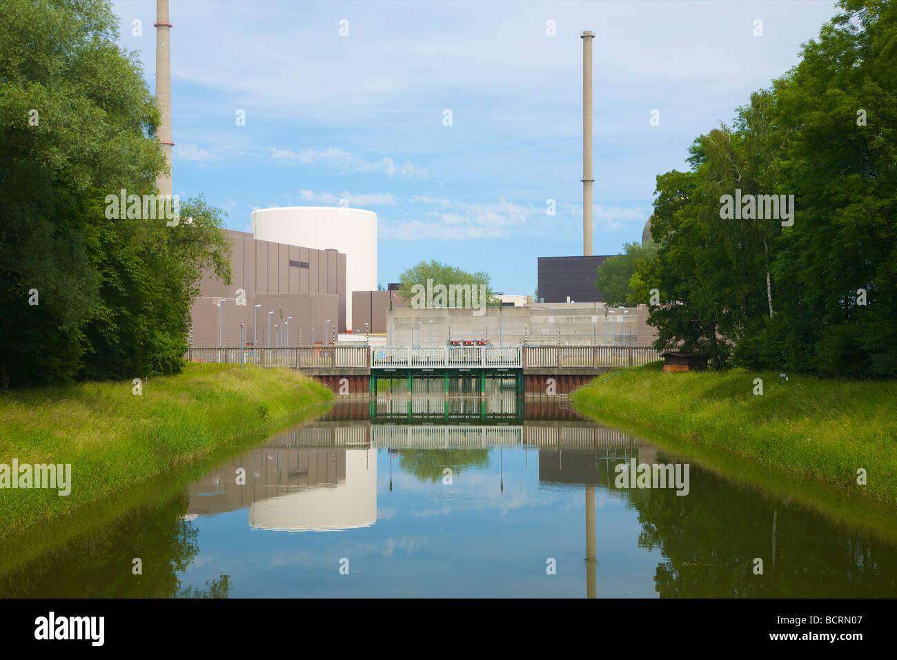 Gundremmingen nuclear power plant in Bavaria, Germany. Cooling water intake from the Danube river. Kernkraftwerk - Stock Image