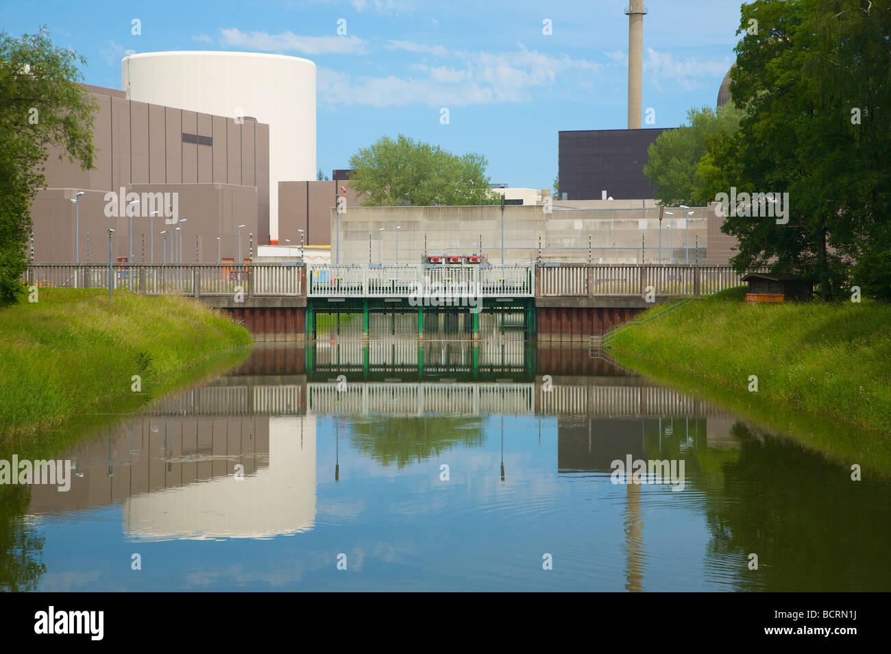 Gundremmingen nuclear power plant in Bavaria, Germany. Cooling water intake from the Danube river. Kernkraftwerk Stock Photo