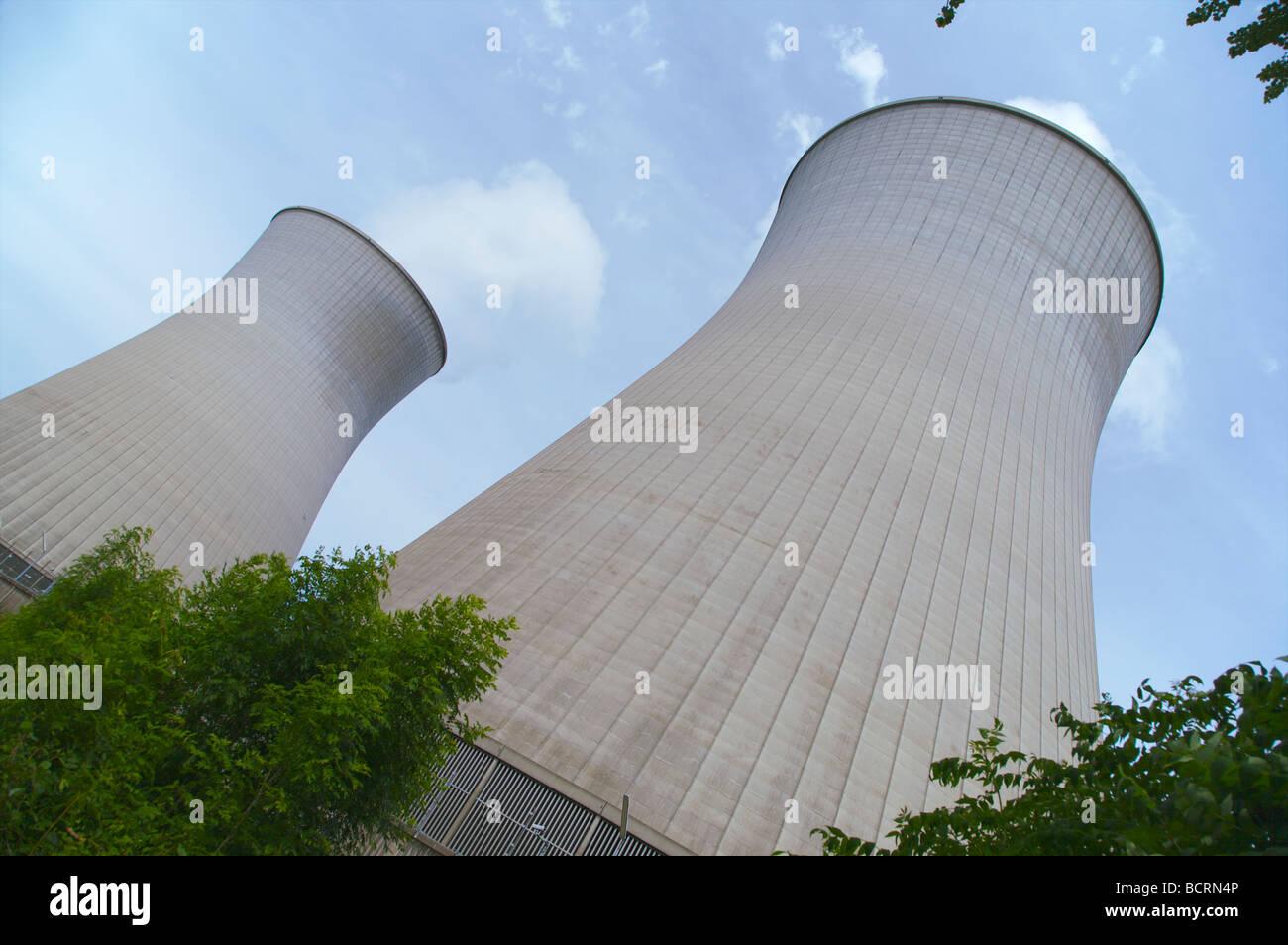 Cooling towers of the Gundremmingen nuclear power plant in Bavaria, Germany. Kühltürme Kernkraftwerk Gundremmingen. - Stock Image