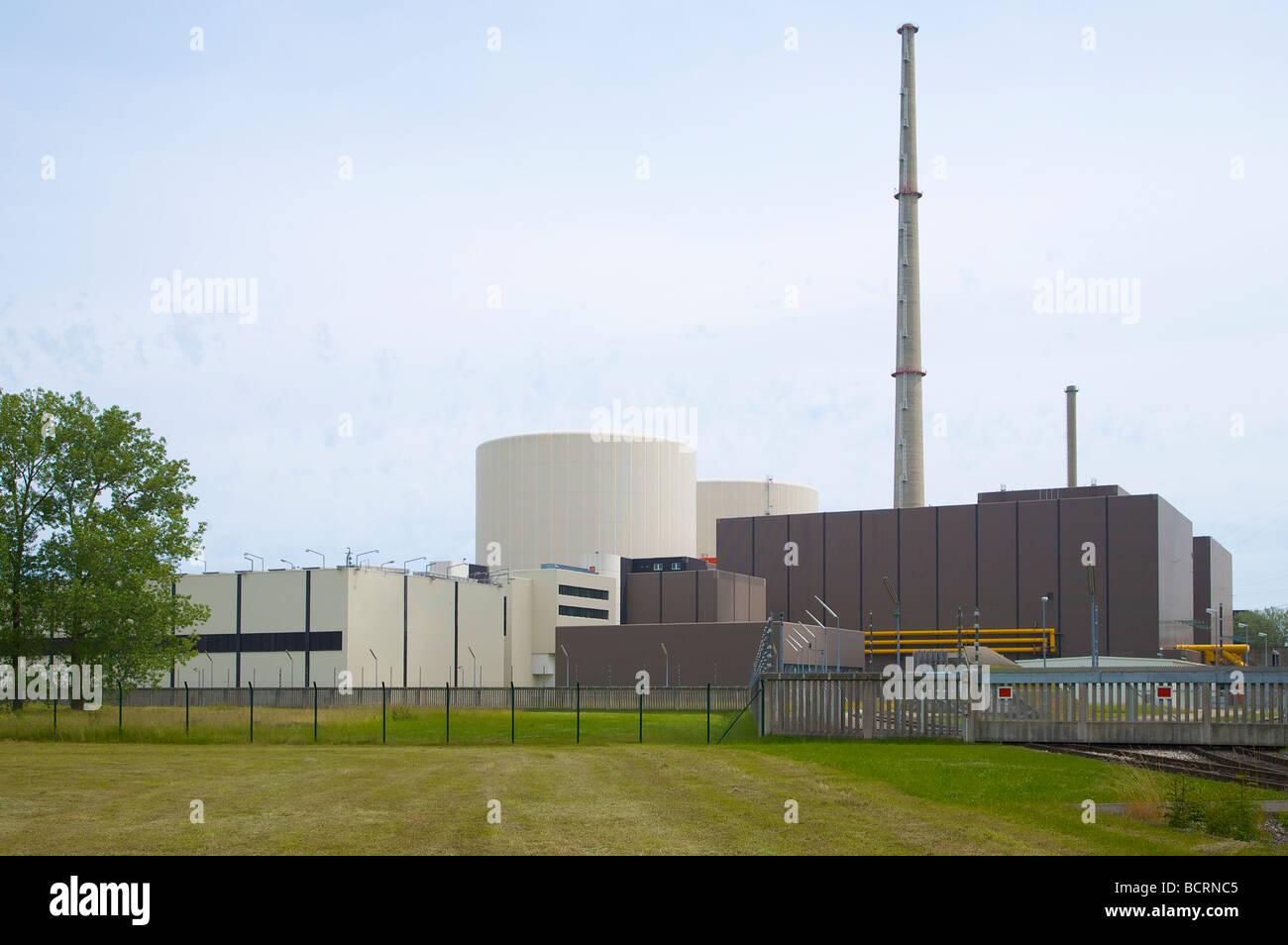 Gundremmingen nuclear power plant in Bavaria Germany 2 active BWR reactors Kernkraftwerk Gundremmingen Bayern Deutschland - Stock Image