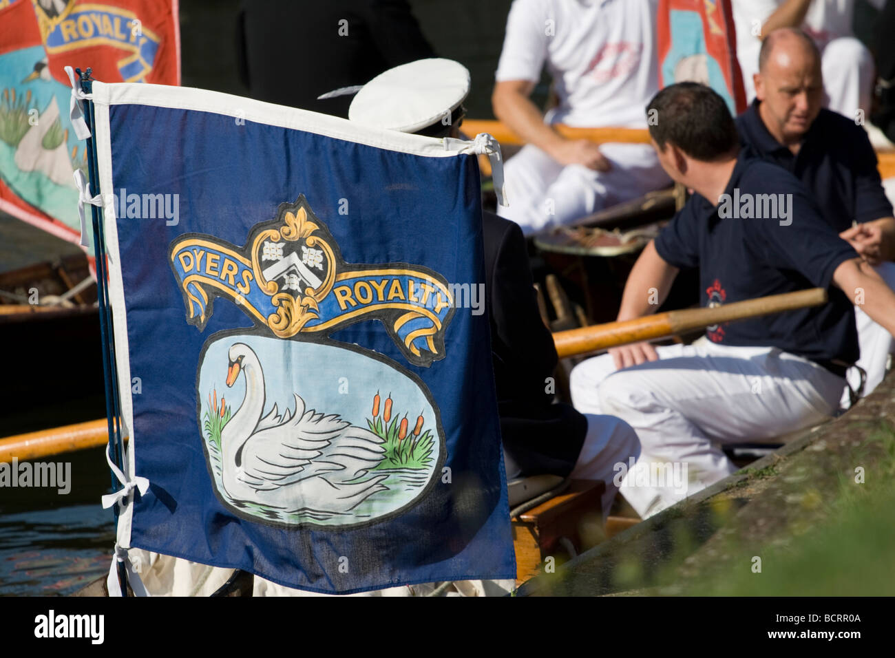 The annual Swan Upping Ceremony which HRH Queen Elizabeth II attended Windsor England 20th July 2009 - Stock Image