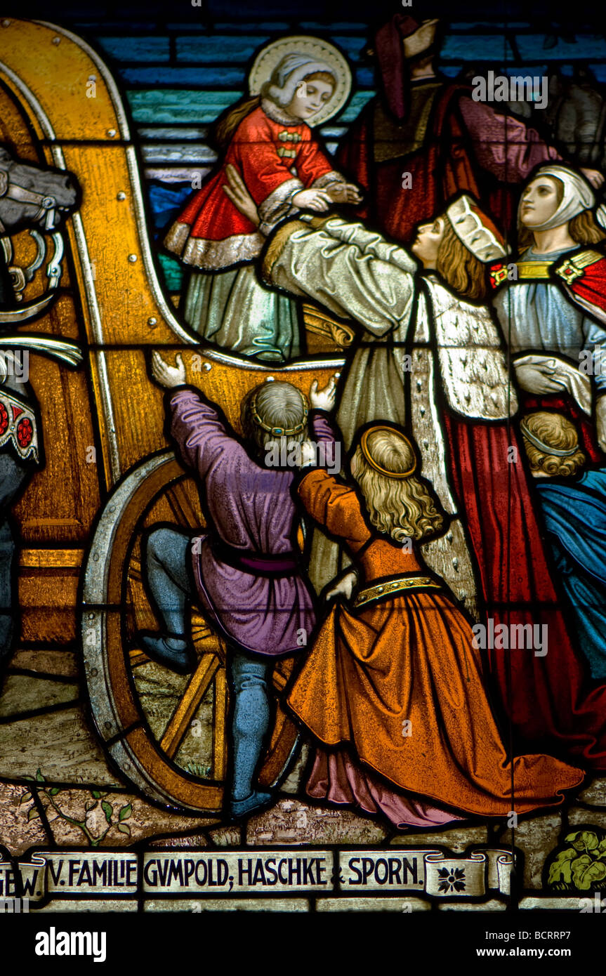 Stained glass windows inside the small church on Schmittenhohe, Austria - Stock Image