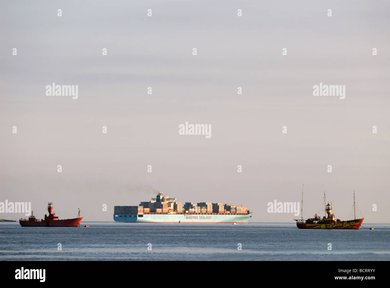 Maersk Sealand container ship, Felixstowe, Suffolk, UK. Stock Photo