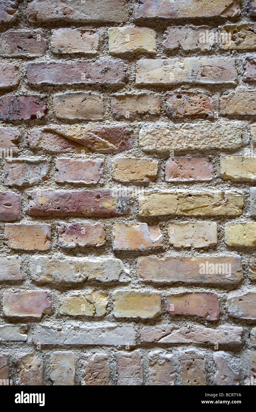 Detail of new brick wall at recently renovated Neues Museum in Berlin  Architect David Chipperfield - Stock Image