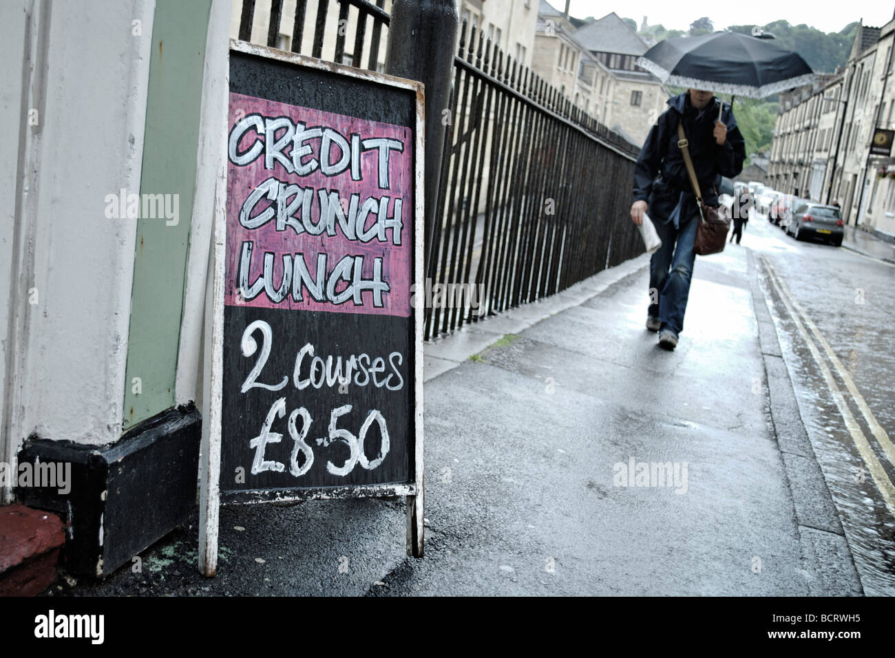 Credit crunch lunch sign outside restaurant in Bath South West England UK - Stock Image