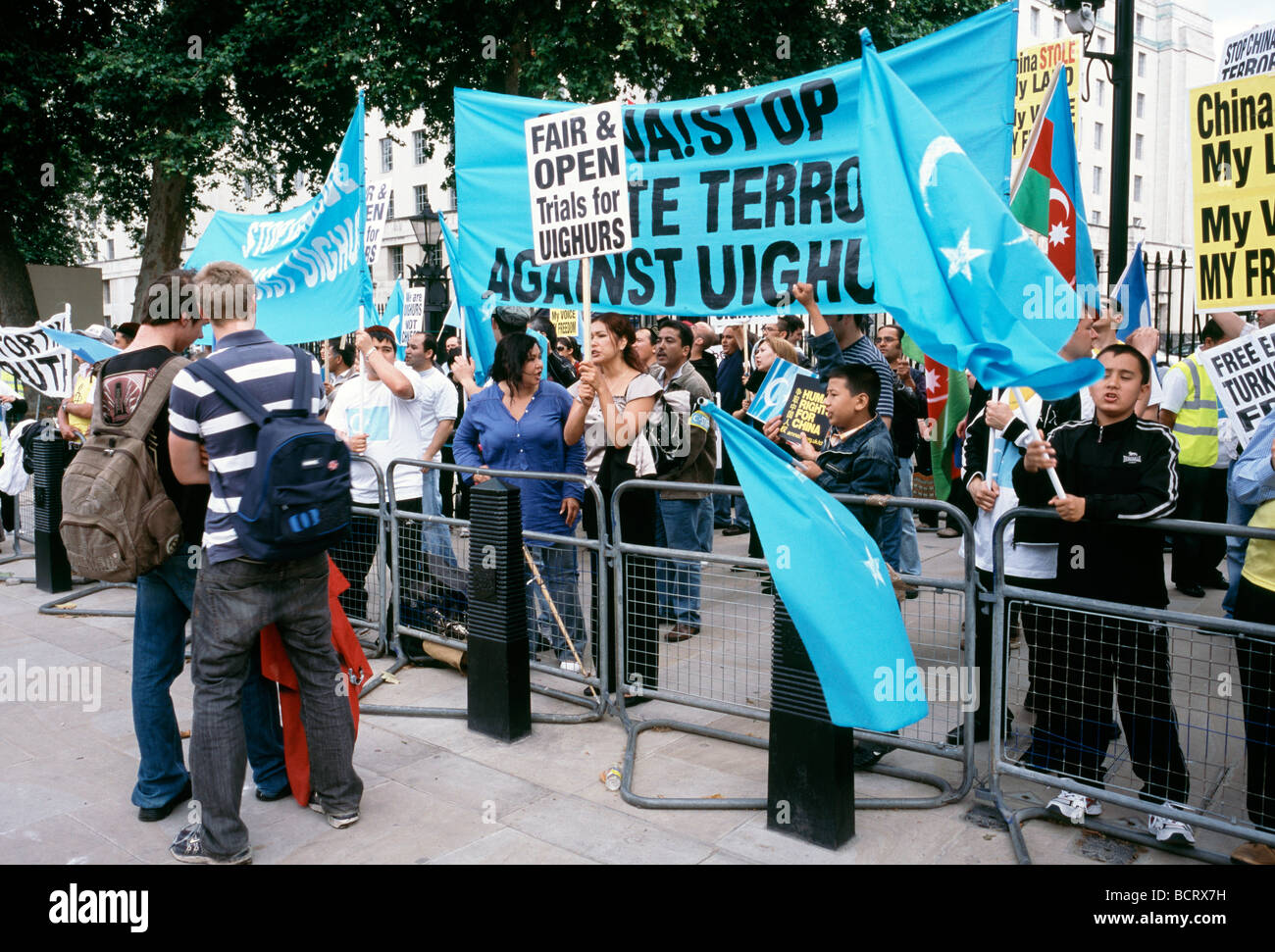 July 15, 2009 - Uighur protesters opposite Downing Street No 10 in London. Stock Photo