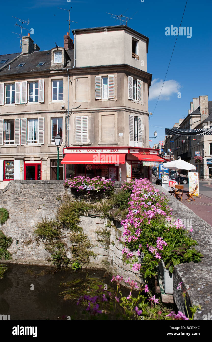 Street scene in Bayeux, Normandy, France - Stock Image
