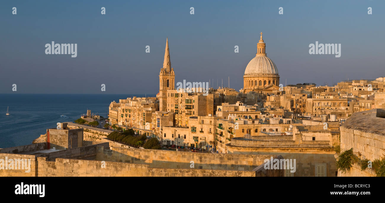 St Paul's Anglican Cathedral and Carmelite Church Valletta Malta - Stock Image