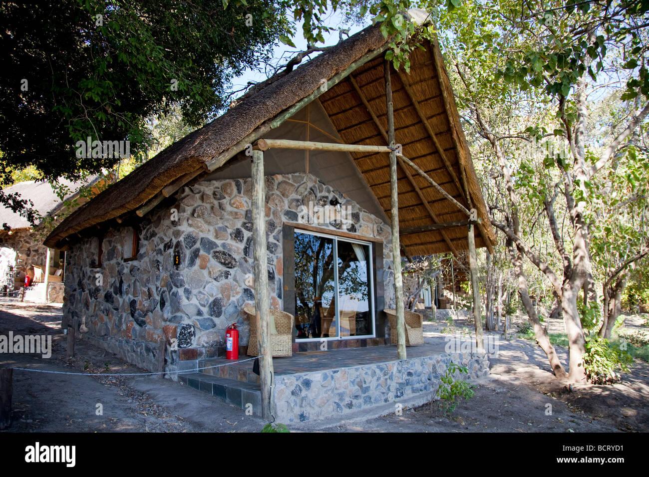 Guest chalet at Thamalakane River Lodge near Maun, northern Botswana - Stock Image