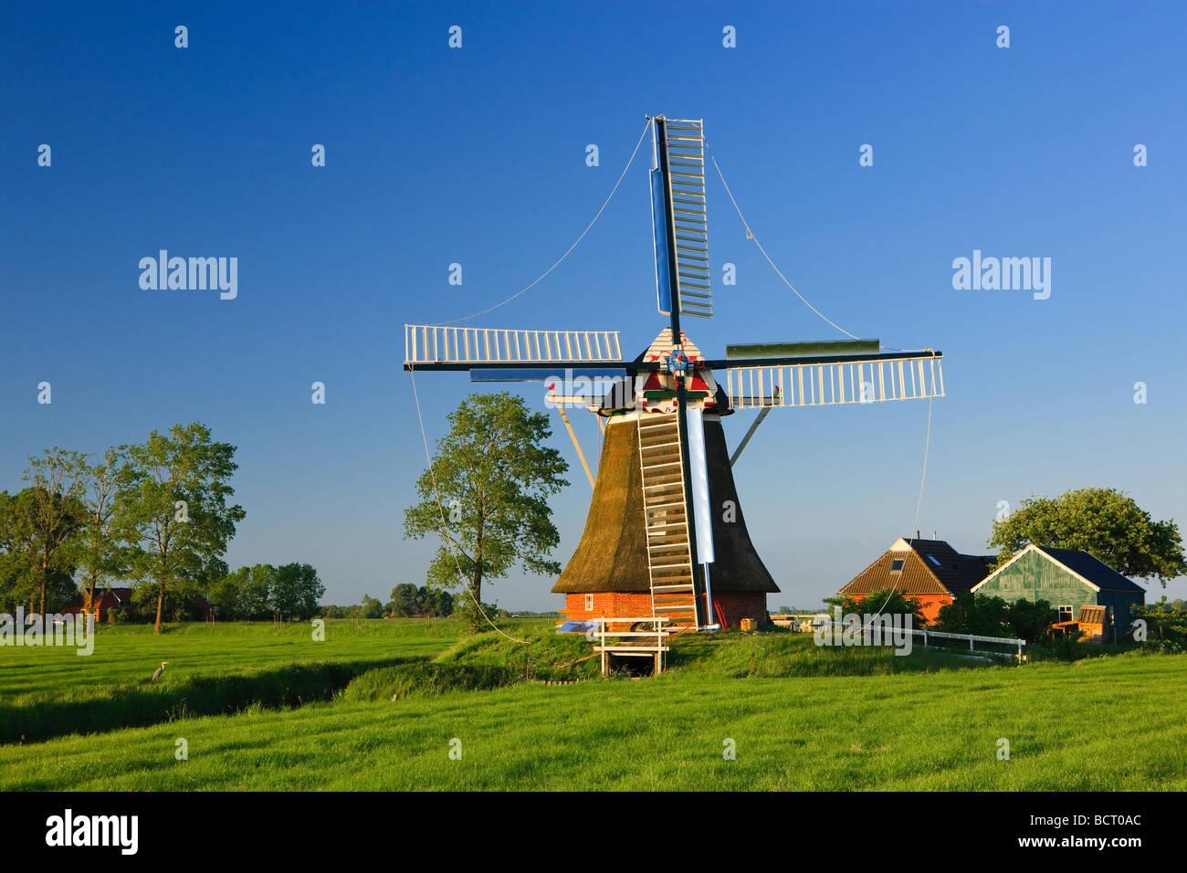 Windmill The Eolus, Aduard ,Groningen, Netherlands - Stock Image