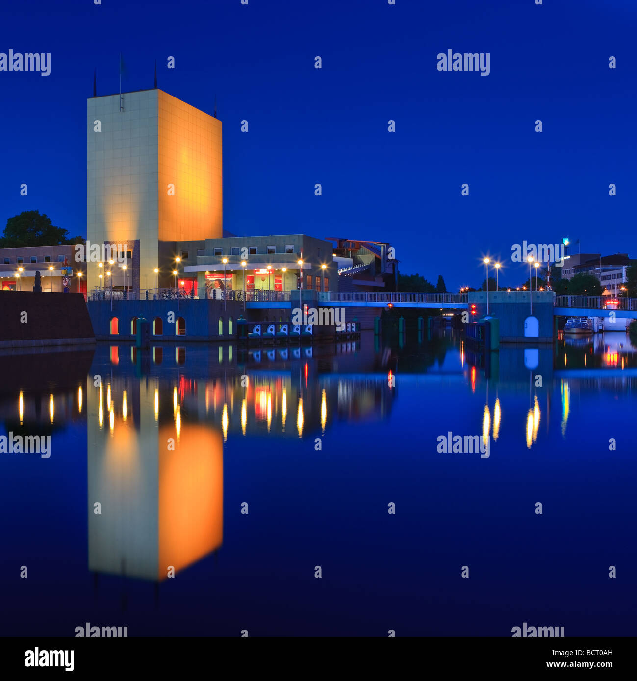 Groninger Museum at the Blue Hour Groningen Netherlands Stock Photo