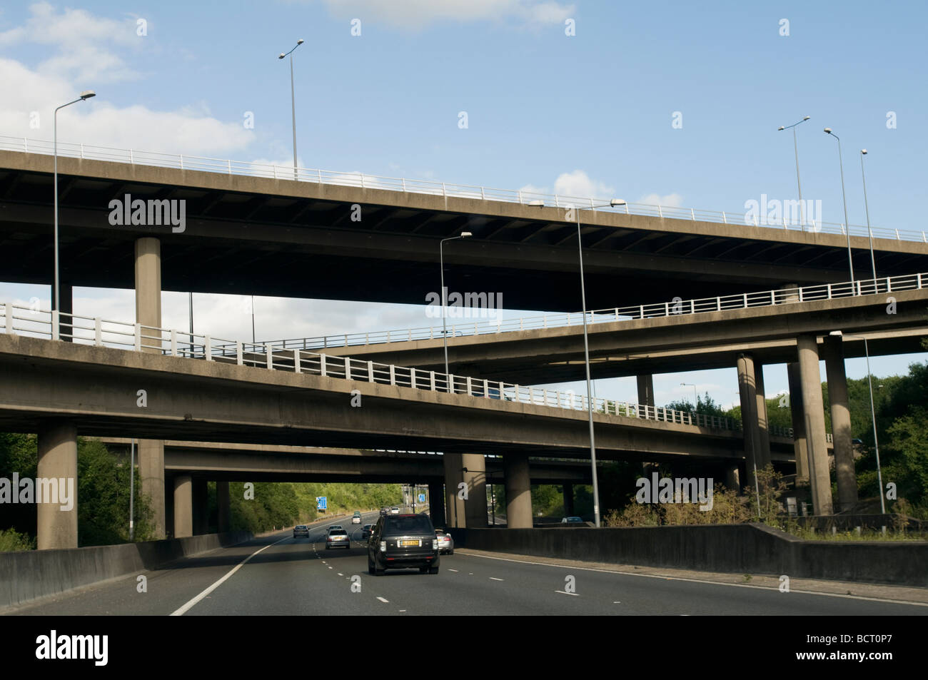 UNITED KINGDOM, ENGLAND, 12th July 2009. The junction of the M25 and M23 motorways in the south of England. - Stock Image